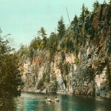 Canoeing in Algonquin Park 1920's, hand tinted