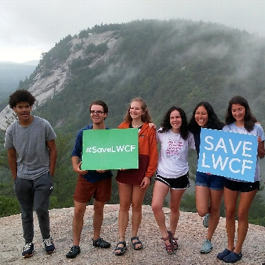 Participants advocate for the Land and Water Conservation Fund at Cathedral Ledge, NH.