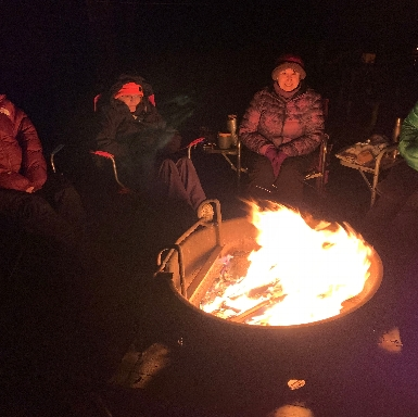 Around the campfire at Little Bennett in December 2019.