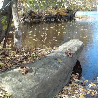 Anchor stone of Middlesex Canal at Concord River
