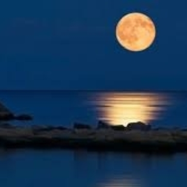 Full moon over the water