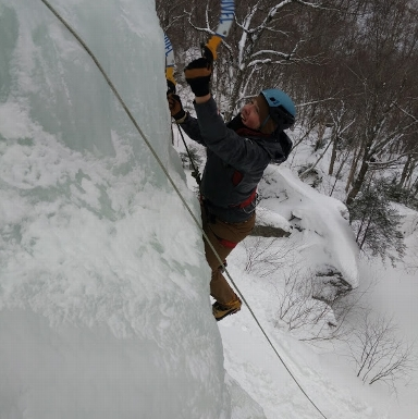 Ice Climbing in Smuggler's Notch.