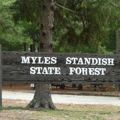 Myles Standish State Forest headquarters sign
