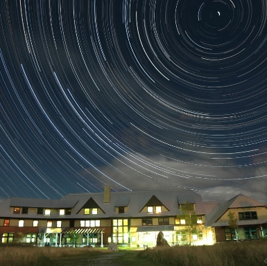 Star trails over Highland Center